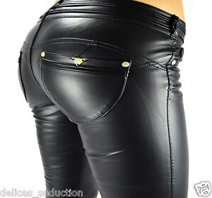 pantalon cuir simili femme jeans skinny slim push up noir stretch sexy leather ebay. Black Bedroom Furniture Sets. Home Design Ideas