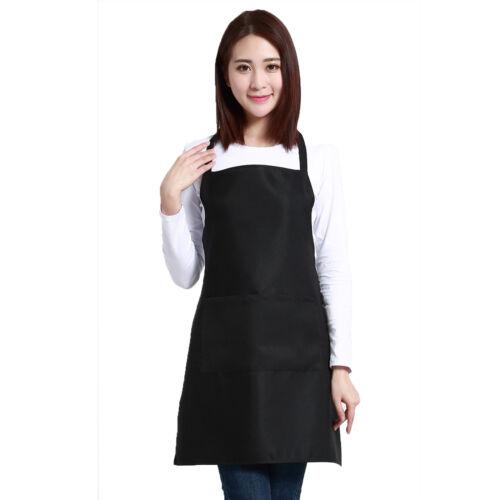 Chef Bib Apron Dress With Pocket Baking Cooking Kitchen Restaurant Womens Mens