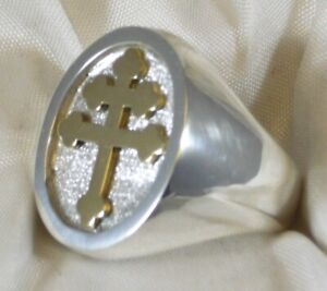 RING CROSS LORRAINE 925 SILVER LORRAINE CROSS RING STERLING SILVER XL