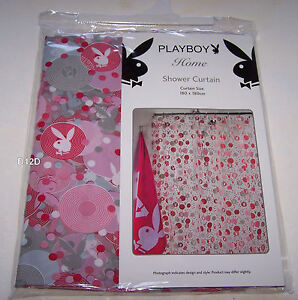 Image Is Loading Playboy Bunny Logo Pink Printed PVC Shower Curtain