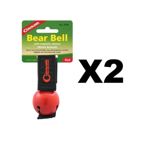 Coghlan/'s Bear Bell Red w//Magnetic Silencer /& Loop Strap Warns Animals 2-Pack