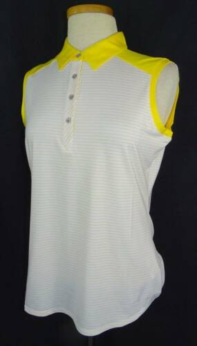 New Women/'s Cutter /& Buck Striped Sleeveless Polo Shirt M nwt 5 Colors Available