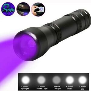 80000Lm-LED-UV-Flashlight-UV-Light-Torch-5Mode-Zoomable-395nm-Blacklight-18650