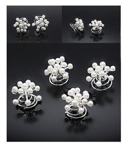 Juste 10 Curlies Haarspiralen Flocons De Neige Perles De Mariée Mariage Blanc Nacre-afficher Le Titre D'origine