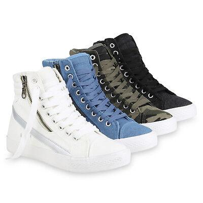 Damen Sneaker High Metallic Turnschuhe Stoff Schnürer 821062 Schuhe