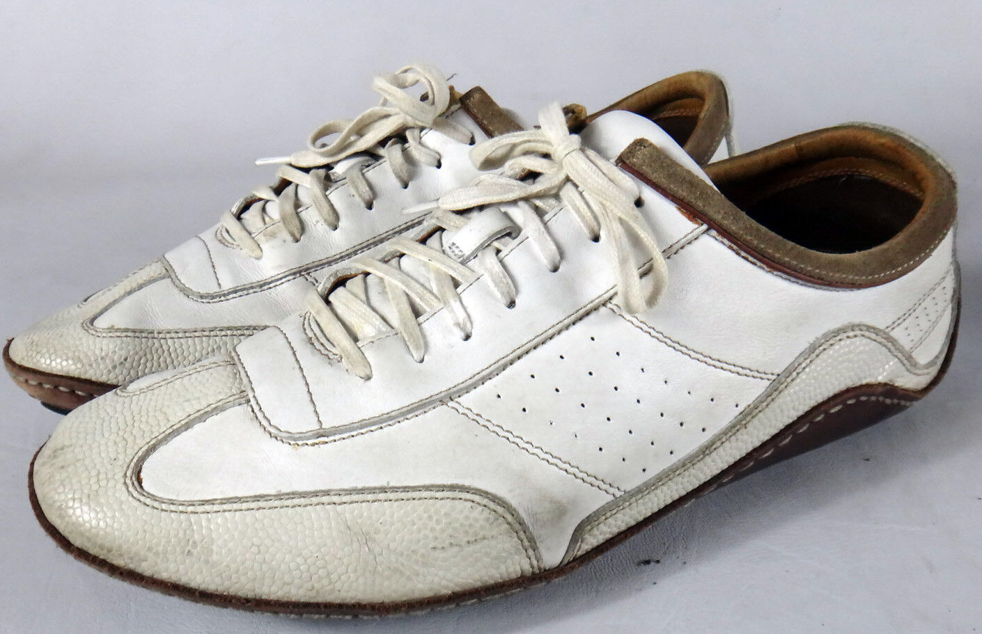 G series  Haan 11.5 white leather Cole driving shoe moccasin brown men air sole