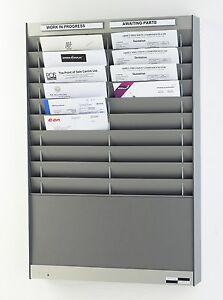 Silver Grey Workshop Job Card Wall Rack For A4 Portrait