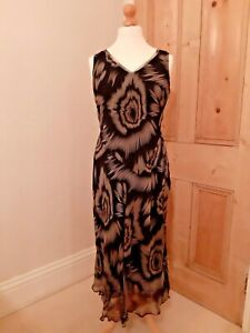 Elegant Austin Reed Black White 100 Silk Maxi Midi Dress Ladies Uk 14 Vgc Ebay