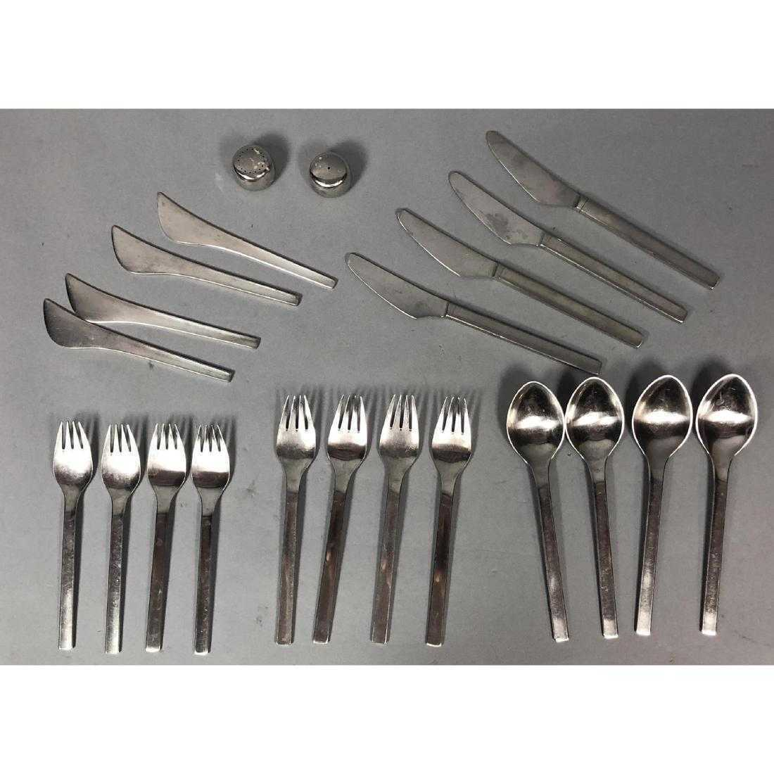 22 pc VINTAGE GEORG JENSEN TUJA TANAQUIL TANAQUIL TANAQUIL STAINLESS STEEL FLATWARE SET c3e432
