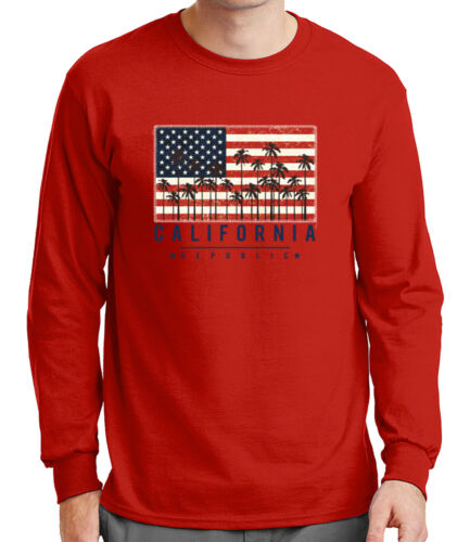 2102C California Republic Mens Long Sleeve Tshirt US flag stitch border Tee