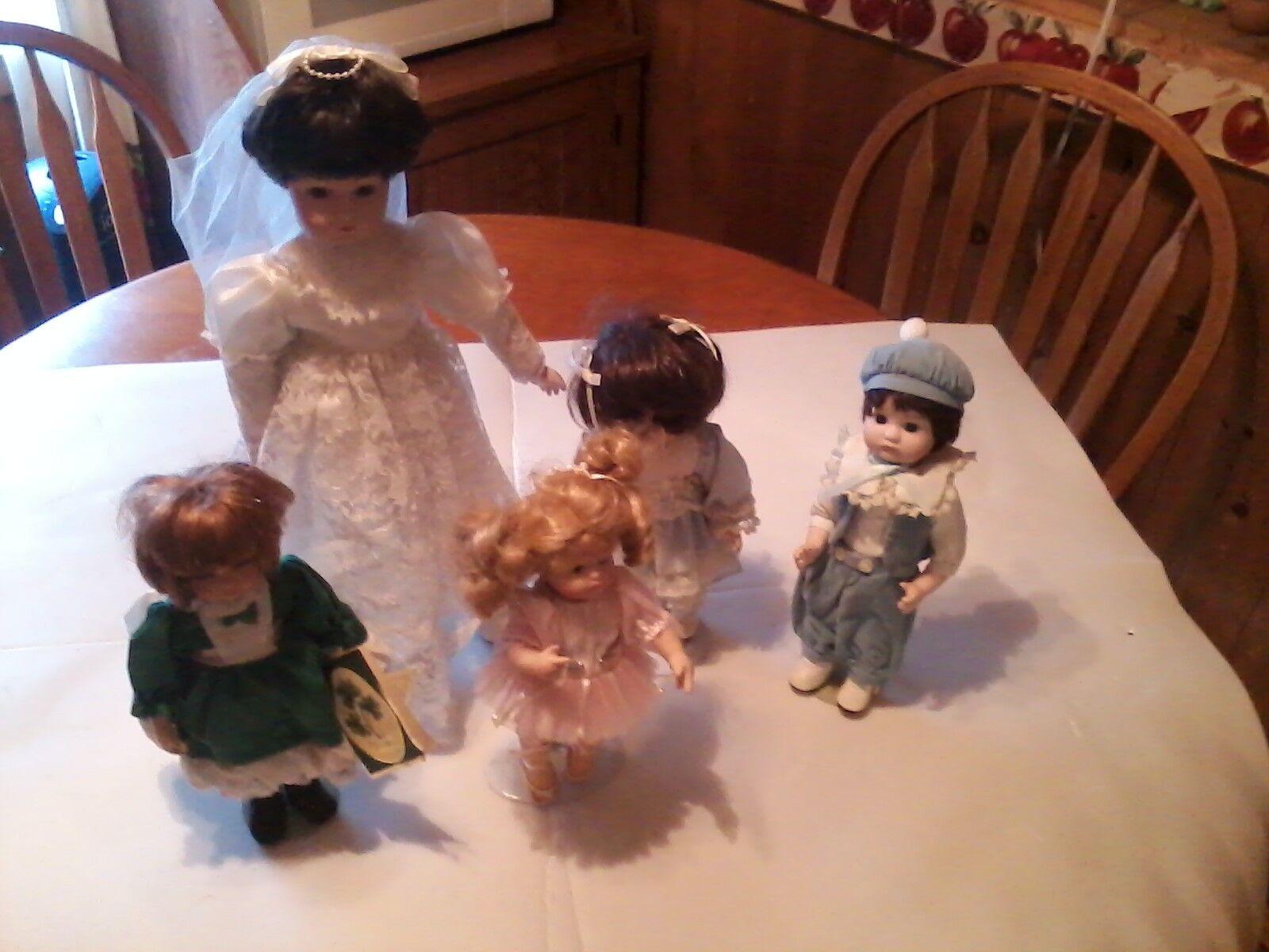 Bambole PORCELLANA lotto di 5 bambole 80s 90s