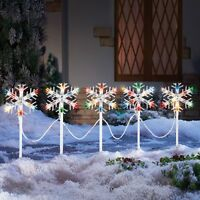 Set Of 5 Holiday Snowflake Colorful Path Lights Christmas Outdoor Home Decor