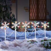 Set Of 5 Holiday Snowflake Colorful Path Lights Christmas Outdoor Home Decor