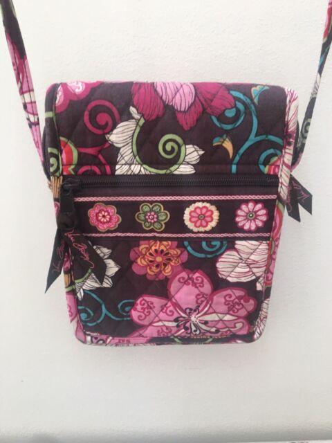 Retired Vera Bradley MOD FLORAL PINK Mini Hipster Crossbody Purse Handbag Wallet