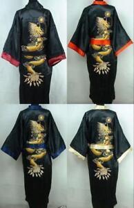 Men s Kimono Double-Face Chinese Silk Robe Gown Bathrobe Dress ... 4a72cba7e