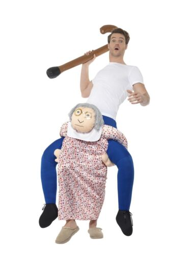 Mens Grandma Ride On Me Mascot Fancy Dress Carry Costume Piggy Back Stag Outfit