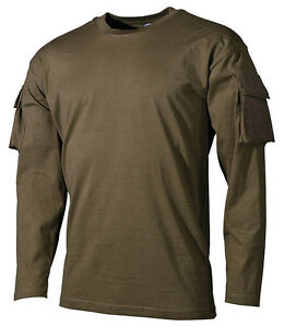OLIVE-TACTICAL-US-ARMY-MILITARY-LONG-SLEEVE-T-SHIRT-COMBAT-sleeve-pockets