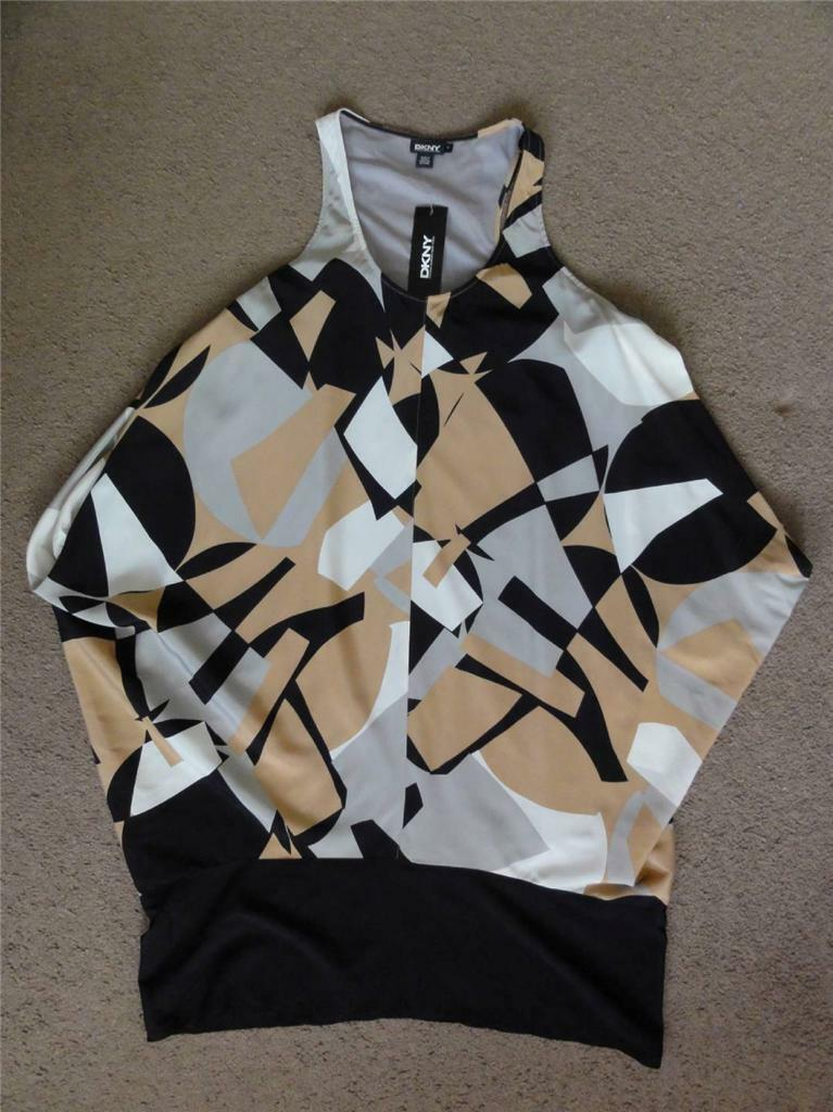 DKNY SLEEVELESS SILK DRESS, DRESS, DRESS, Multi-color, Size P, MSRP  425 b1cd18