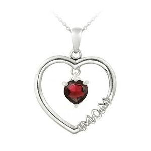 925-Silver-Dangling-Garnet-amp-Diamond-Accent-034-Mom-034-Open-Heart-Necklace