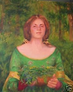 Pre-Raphaelite-Gathering-Herbs-Beautiful-woman-in-green-Orig-Oil-by-M-Aycock