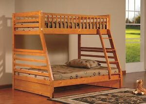 Modern Design Oak Wood Finish Twin Over Full Kids Bunk Bed Ladder