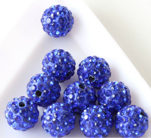 50Pcs Czech Crystal Rhinestones Pave Clay Disco Ball Round Spacer Beads DIY 10MM