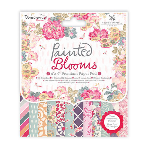 Dovecraft Painted Blooms SAMPLE 12 x 6 x 6 Paper Pad FSCs  for cards and crafts
