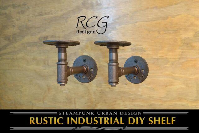 """Three 2x4/"""" L Brackets DIY Pipes urban steampunk rustic decor 8/""""-10/"""" deep shelf"""