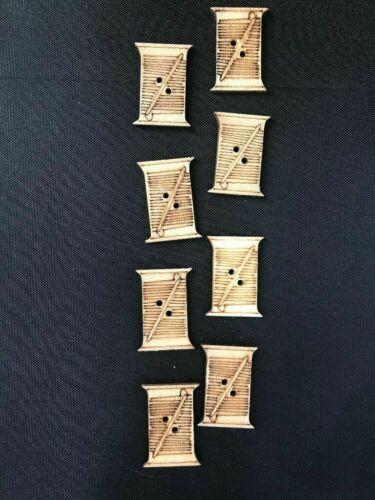 8 Wooden Thread Spool Buttons Crafts Scrapbook Aprons Flat buttons