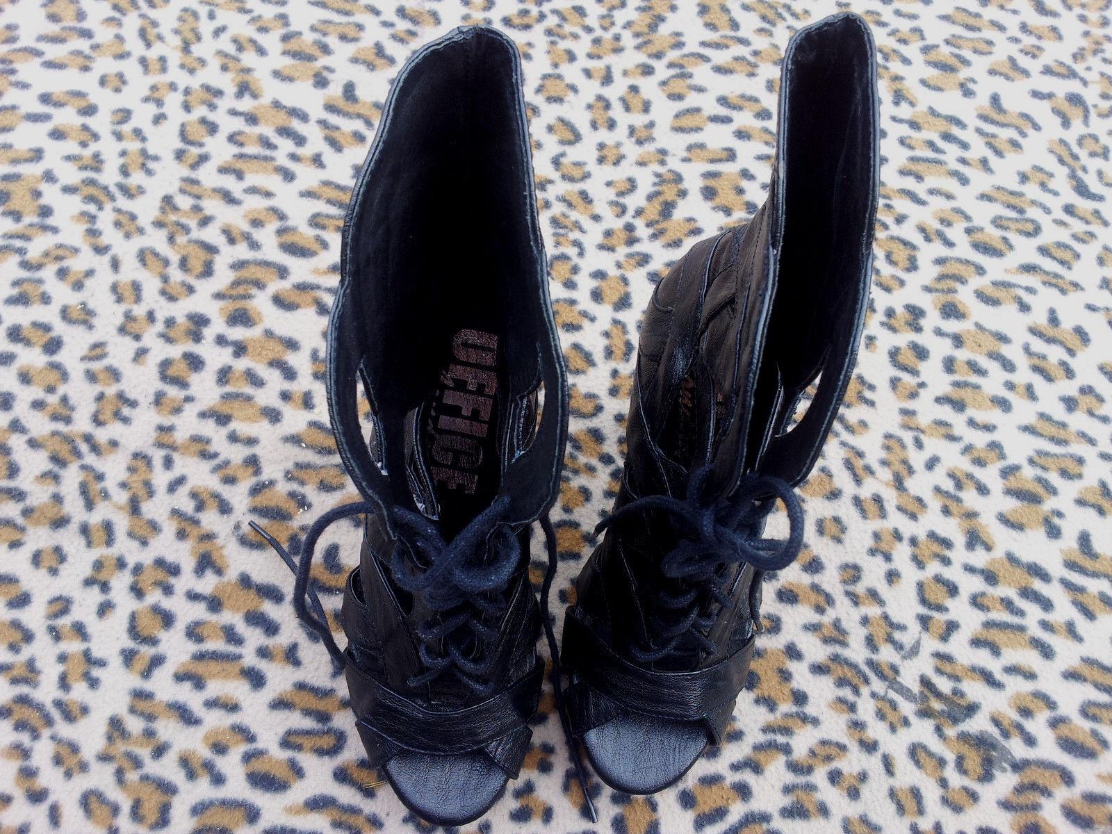 Office of London schwarz high high high heeled lace up peep toe platform schuhe UK 5 EU 38 deac4f