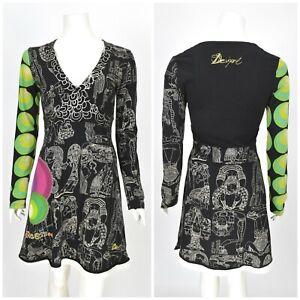 Womens-Desigual-V-Neck-Long-Sleeve-Dress-Multicolored-Cotton-Boho-A-Line-Size-M