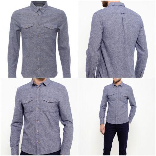 Ex Burton Menswear Uomo blu screziato Tonalità Grindle Manica Lunga Camicia in cotone RRP £ 28