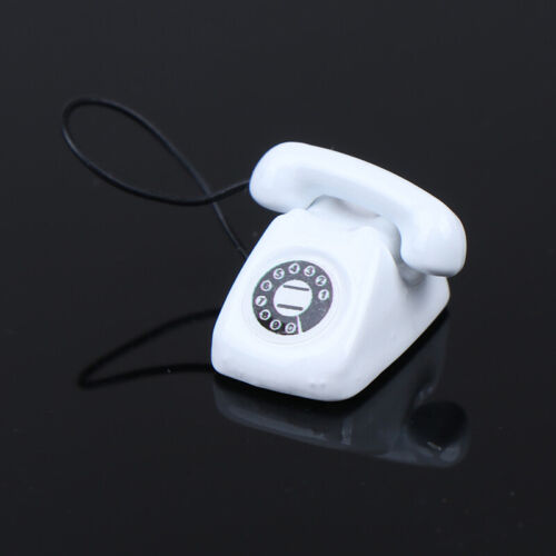 1//12 Dollhouse Miniature White Telephone Pretend Play Doll House Furniture YNS