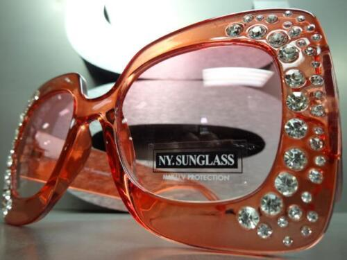Oversized Exaggerated Luxury Retro Style Bling SUN GLASSES Huge Thick Red Frame