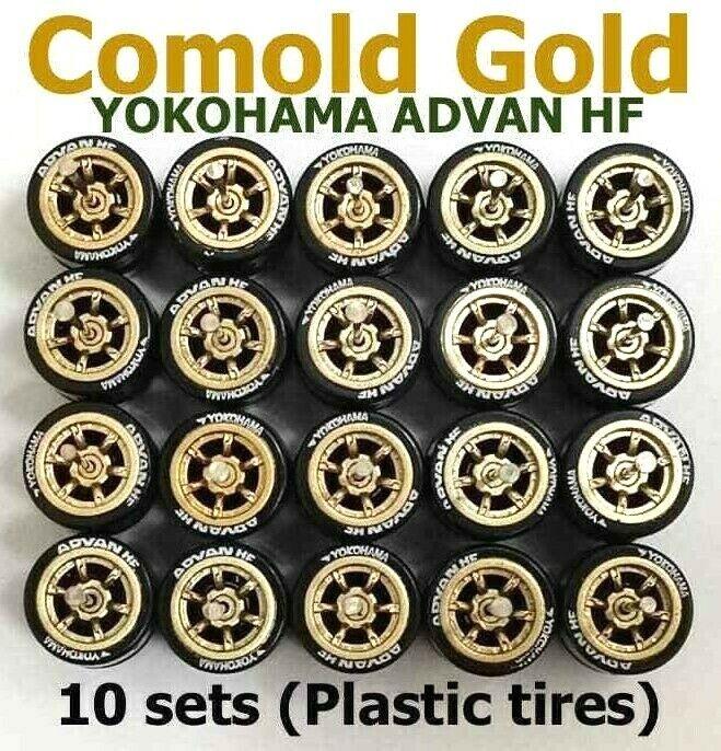 1 64 Comold gold rim Yokohama Advan HF tires fit Hot Wheels diecast - 10 sets