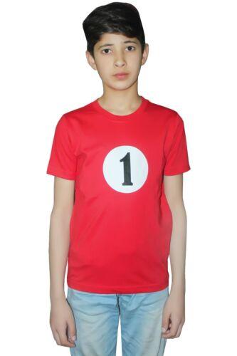 Kids Girl Boys Thing 1 /& 2 Number Red Printed T shirt Book Week Fancy Dress