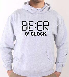 Felpa-Con-Cappuccio-KJ1649-Beer-O-039-Clock-e-Sempre-l-039-ora-della-Birra