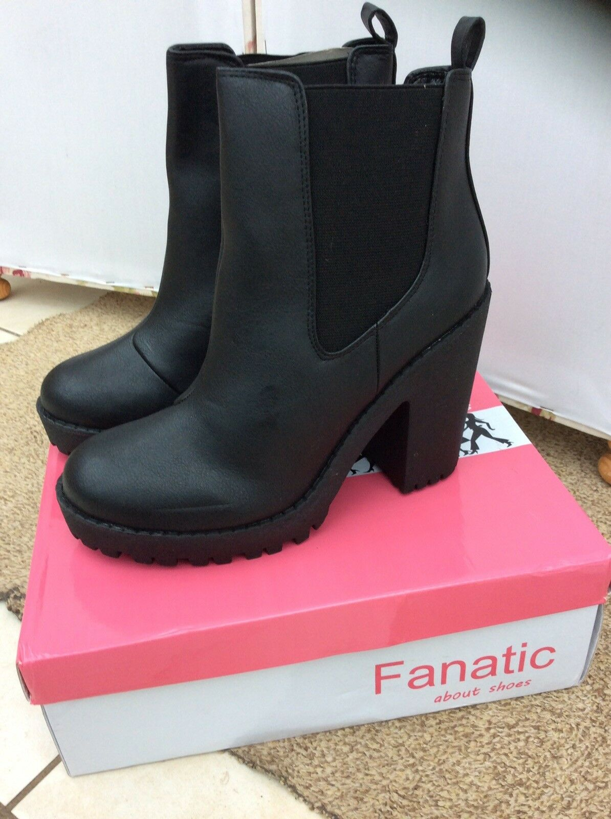 Goth Gothic Fanatic Izzy Elastic Insert Pull On Ankle Boots - BNIB