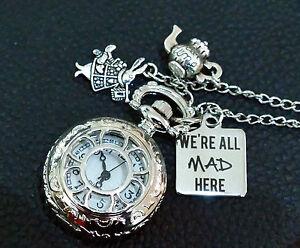 Alice in Wonderland We're All Mad Here Pocket Watch Necklace fX3u0Id
