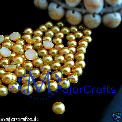 200pcs Yellow Gold 8mm Flat Back Round Resin Pearls, Beads (Not Acrylic)