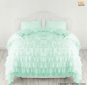 New Waterfall Ruffle Duvet Cover With Pillow Sham 100