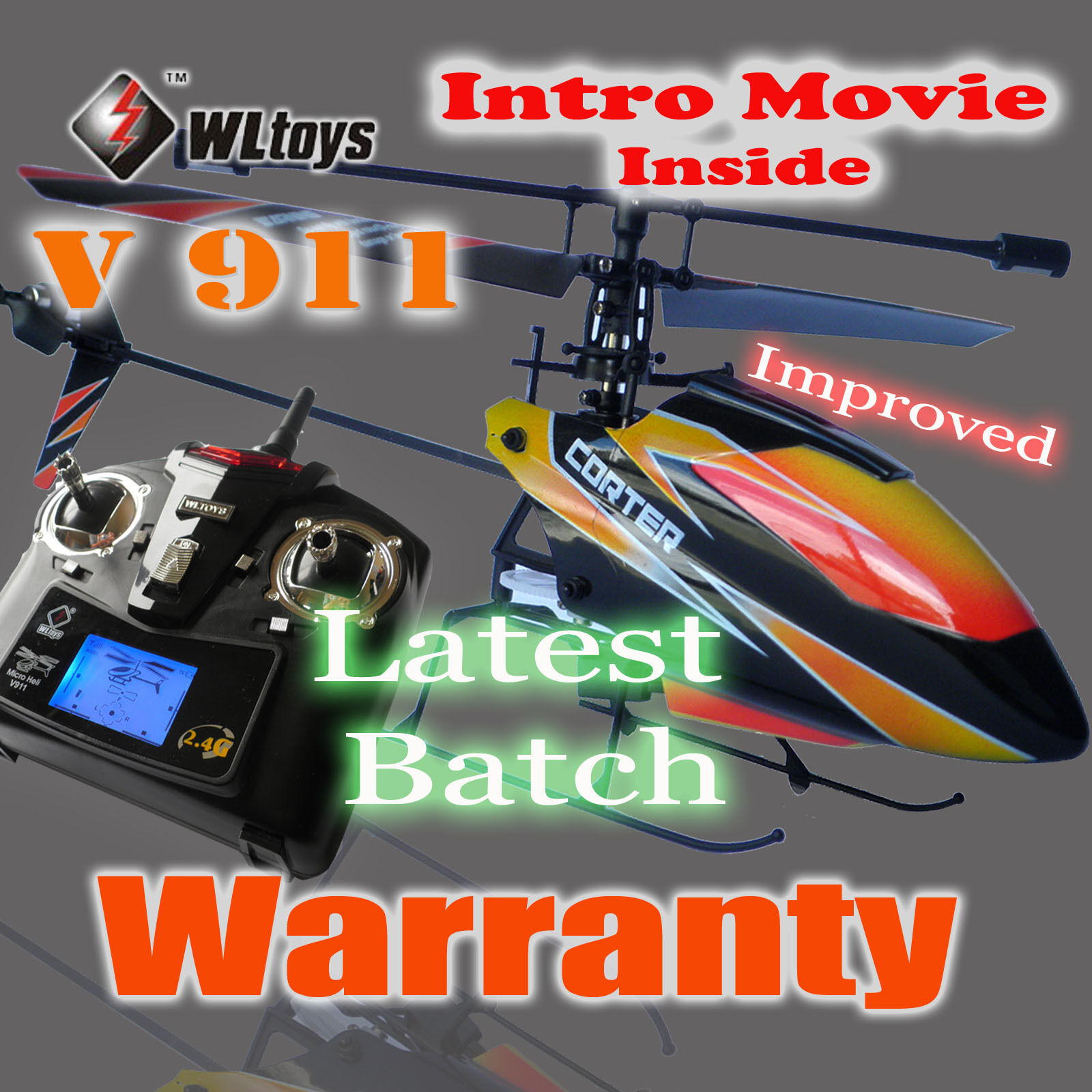 4 Battries V911 RC Helicopter 4ch Single blade Single Rotor Gyro In/ Outdoor
