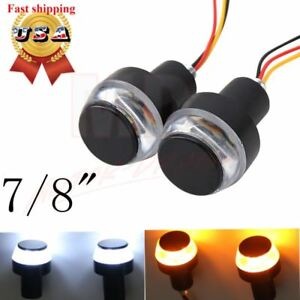 1 Pair 7//8/'/' 22mm Motorcycle Handlebar Grips /& Ends Yellow LED Turn Signal Light