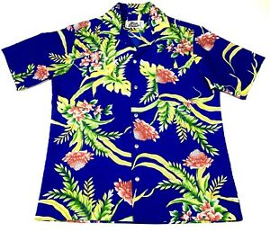 c508f521 Vintage Hilo Hattie's Hawaiian Shirt Made in USA Blue Floral Mens ...