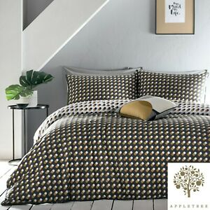 Appletree-Echo-Spots-Duvet-Cover-Bedding-Set-Cotton-Spotted-Quilt-Grey-and-Ochre