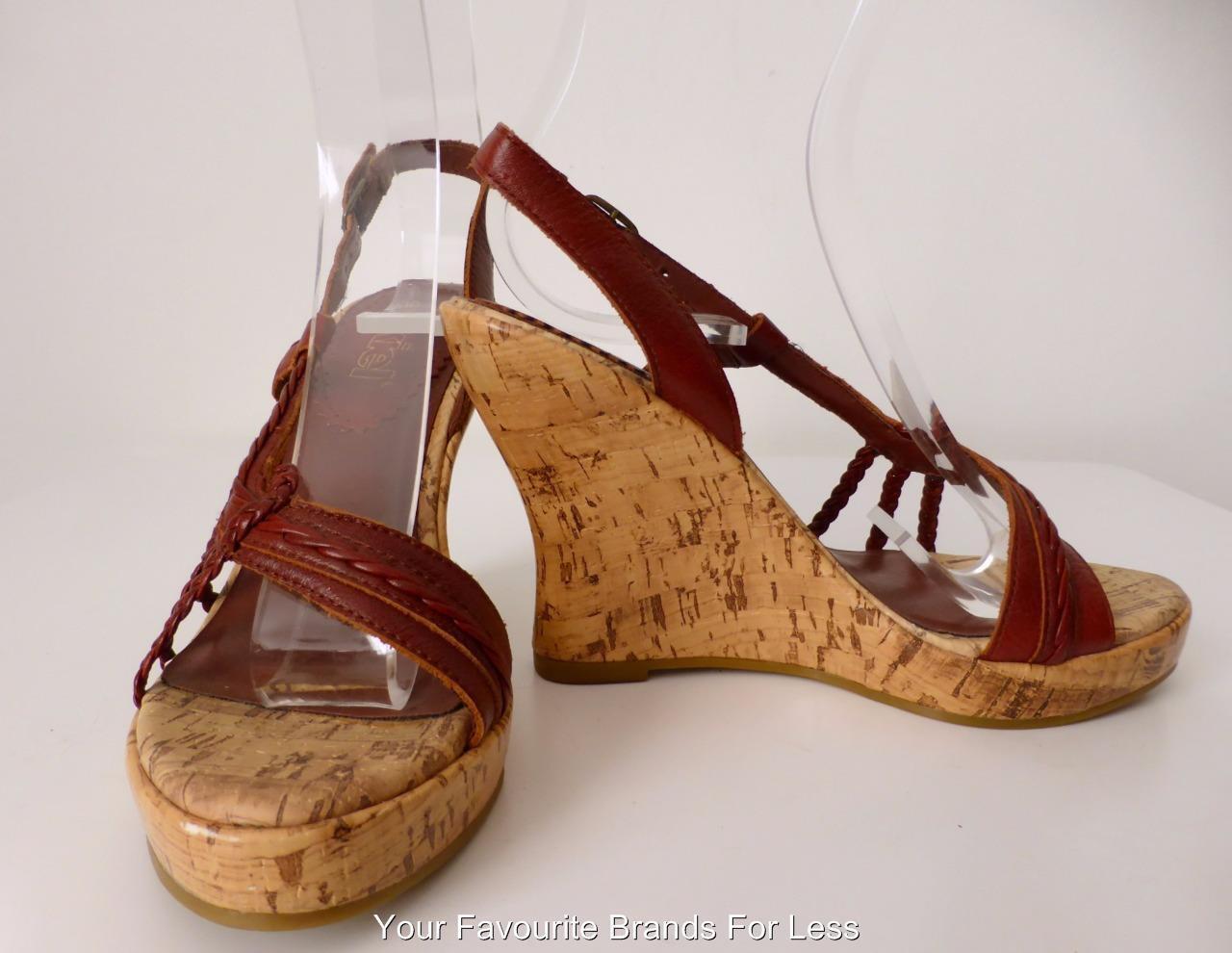 AKIEL Größe 6 Braun Leder and Cork Open Toe Wedges Schuhes
