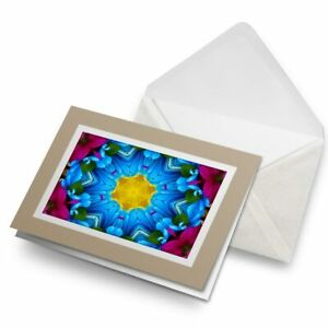 Greetings-Card-Biege-Pretty-Kaleidoscope-Flower-3396