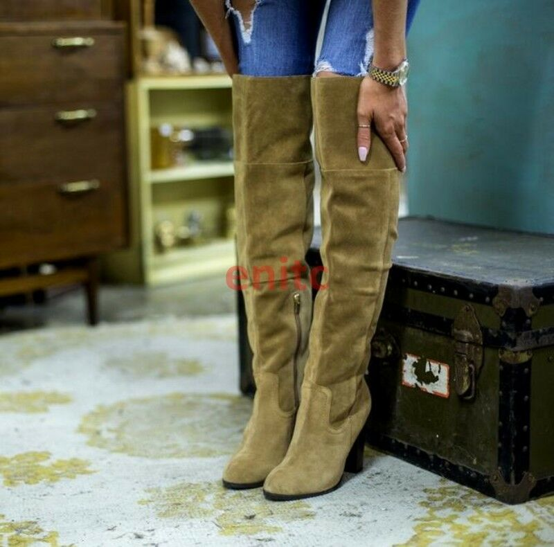 New Women Suede Block Heel Over the Knee High Thigh Boots Slouch shoes US 2-11.5