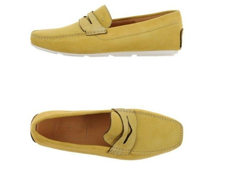 SANTONI Suede Penny Loafers Driving schuhe Yellow Größe uk 8 eu 42