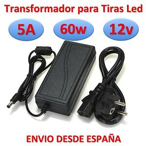 Transformador 12v dc 5a 60w tira led alimentador fuente de for Transformador 12v a 220v